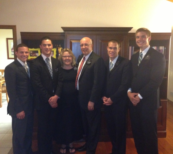L to R, Elder Fulmer, Elder Hemi, Sister Sweeney and Pres. Sweeney, Elder Wilcox and Elder Miller