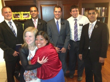 Back to Front, Left to RIght: Elder McNabb, Elder Broomhead, Elder Taylor, Elder Rigoli, Elder Hernandez, Sister Holyoak, Sister Tenney