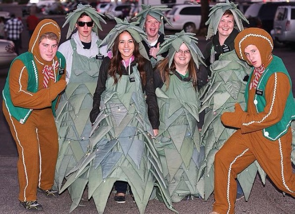 Missionaries in costume (but with nametags) for the Payson Christmas Parade. L to R, E. Sessions, E. Wojahn, S. Crandall, E. Curtis, S. Fisher, S. Isert and E. Armatage
