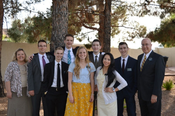 Front L to R: Elder Whiting, Sister Erekson, Sister Colina Back L to R: Sister Sweeney, Elder Crockett, Elder Watson, Elder Tuckett, Elder O'Brien, Pres. Sweeney