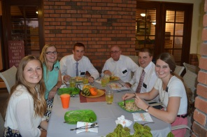 Elder Dale joins the departing missionaries