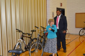 Sis. Kenney and the bikes.